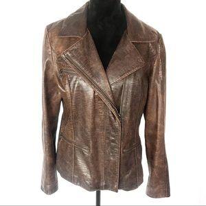 Siena Studio brown snakeskin print leather jacket